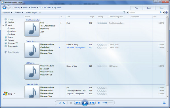 diffuser Spotify Music sur Windows Media Player