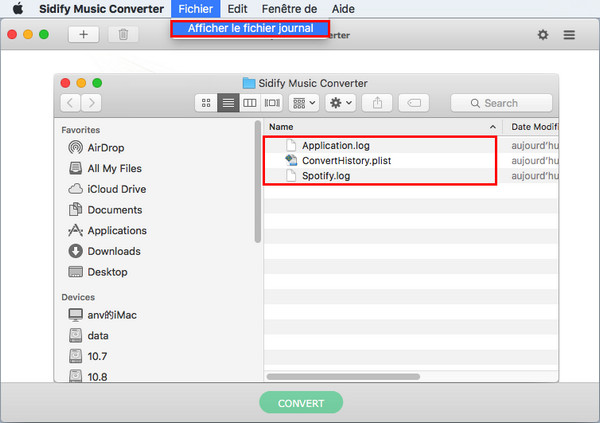 Ficheir journal de Spotify Music Converter mac